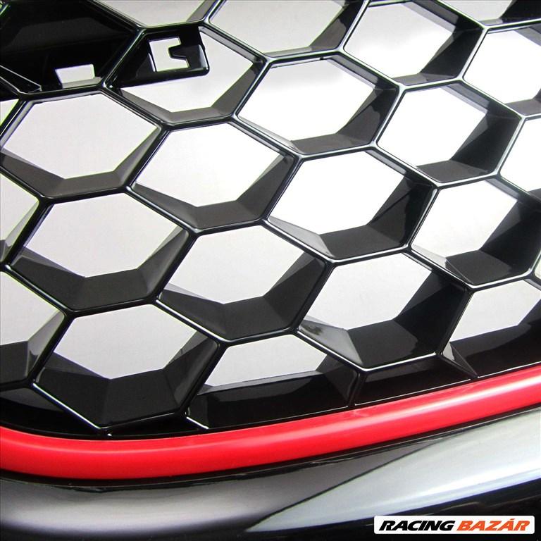VW Golf 5 GTI méhsejt alakú rács fekete -vörös csíkkal 4. kép