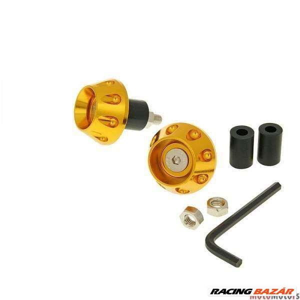 Kormány / kormányvég anti-vibrációs lapos 13.5 / 17.5mm (csomagban adapter) - arany 1. kép