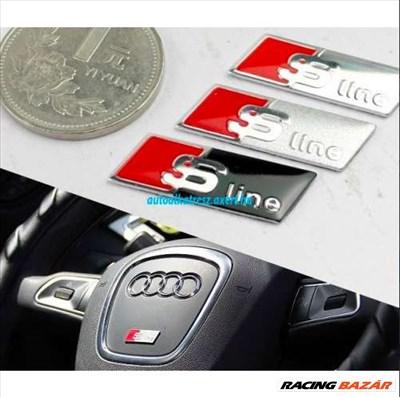Audi S-line matrica / felirat kormányra - ezüst / fekete színben