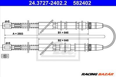 ATE 24.3727-2402.2 - Kézifék bowden LADA