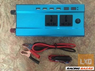 Autós Inverter 220V 12/24V 2000W USB kimenet digitális kijelzős is