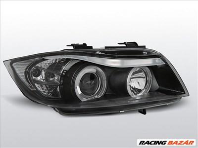 BMW E90/E91 2005.03-2008.08 Fekete Angel Eyes Első Lámpa