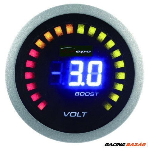 DEPO RACING LED 2in1 52mm - Feszültségmérő, Turbónyomásmérő óra 1. kép