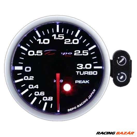 DEPO RACING PEAK 52mm - Turbónyomásmérő óra (Elektromos, -1 - 3 BAR) 1. kép
