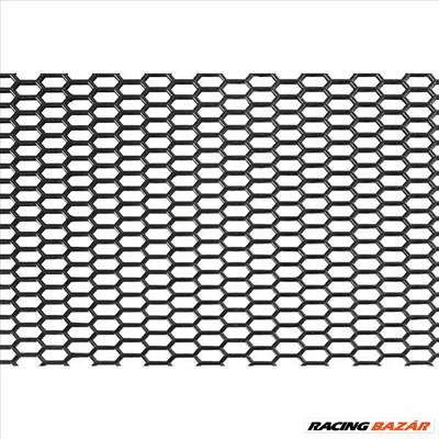 Tuningrács, díszrács, fekete hexagon - műanyag 120x40cm