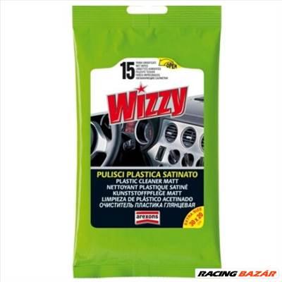 Wizzy műszerfalápoló nedves törlőkendő - Matt hatású (15 db) Wizzy Plastic Cleaner