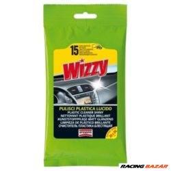 Wizzy műszerfalápoló nedves törlőkendő - Fényes hatású (15 db) Wizzy Plastic Cleaner Shiny